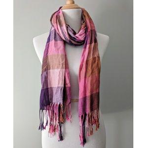 Accessories - Pink and Purple Plaid Viscose Pashmina Scarf/wrap